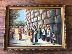 Jewish Painting Hebrew Oil On Canvas Authentic Holy Wall In Jerusalem