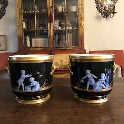 Pair Of Antique French Gilt Soft Paste Two Handled Seaux A Bouteille Wine Bucket