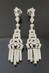 Art Deco Style Tiny White Round Cz 925 Sterling Silver Dangle Earrings For Women