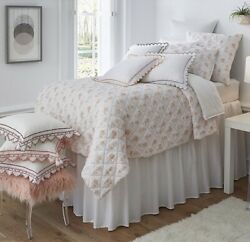 Southern Living University Collection Leah Twin Quilt And Euro Sham Linen White