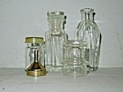Vintage Misc Lot Apothecary / Medical Glass Bottles And Lid