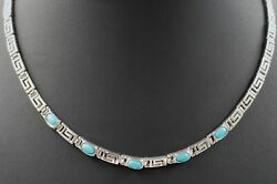 Turquoise Womens Necklace 925 Sterling Silver Chain Fine Jewellery Length 42cm