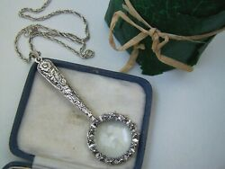 Vintage Solid Sterling Silver Magnifying Magnifier Glass Chatelaine Pendant Rare