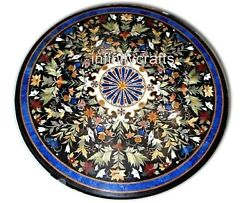 48 Inches Marble Inlay Stone Table Top Round Dining Table Heritage Handcrafted
