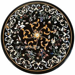 48 Inches Marble Hotel Table Top Round Shape Meeting Table Cottage Work Inlaid