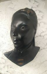 Vintage Oriental Lady Face Head Bust Wall Mask Plaque Chalkware