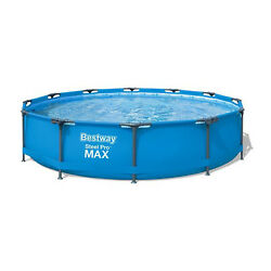 Bestway 12' X 30 Round Steel Pro Max Hard Side Family Swimming Pool Set Used