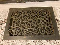 """Antique Victorian Cast Iron Floor Vent Cover And Frame Assembly 9 3/4""""x 13"""