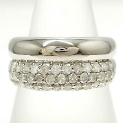 Jewelry Platinum 900 Ring 14.5 Size Diamond 1.00 About7.5g Free Shipping Used