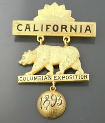 1893 California Bear Columbian Exposition Badge Medal Pin B. Pasquale S.f.
