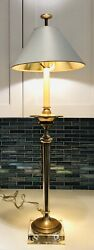 Vintage Mcm Brass Tall Torch Candlestick Column Table Lamp Clear Base With Shade