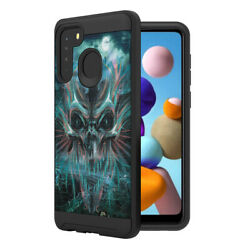 Best Hybrid Shock Defender Black Case Cover for Samsung Galaxy A21 Scary Skull