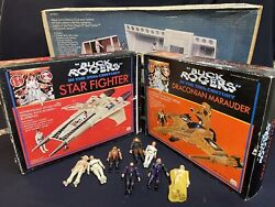 Vintage Toy Lot Buck Rogers Playset Marauder Star Fighter + 8 Figurines