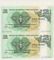 K566-17 1990 Png 2 Kina Uncut Pair Of Bank Notes With Salvageq