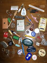 1950s 60s Collectible Junk Drawer Lot Of 44 Keychains Oil Knives Beer Texas