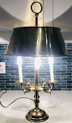 Vintage Mcm Bouillotte Table Lamp Brass 3 Tole Light Metal Shade Made In Italy