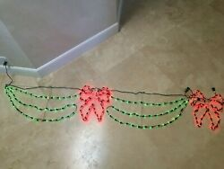 Christmas Lights Swag Bow Outdoor Red Green String Light 92 End To End Banner