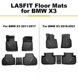Lasfit Floor Mats Custom For Bmw X3 2011-2021 Tpe Rubber All Weather Heavy Duty
