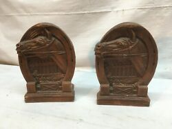 Vtg Pair 30-40's Burwood Ornawood Horse / Horse Shoe / Polo Art Deco Bookends