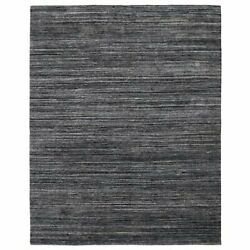 Handmade Black Gray Indoor/outdoor Area Rug Solid Pattern Thick Pile