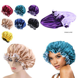 Us Double-sided Satin Night Sleep Cap Hair Bonnet Hat Head Cover W/ Elastic Band