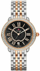New Michele Serein Mid Diamond Dial Two Tone Rose Gold Mww21b000094 Ladies Watch
