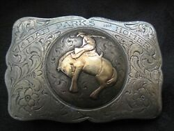 Rare Rowell Sterling 10k Bucking Horse Rodeo Trophy Buckle