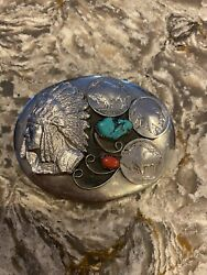 Vintage Belt Buckle - Turquoise, Red Coral, Buffalo Nickels, Indian Head