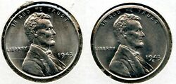 1943 Lincoln Steel Cent Penny Set - Philadelphia And San Francisco Mint - Bl311