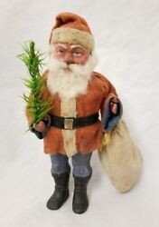Vintage 1920's Santa Woodcutter With Bag Candy Container 8 Tall