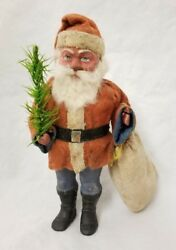 Vintage 1920and039s Santa Woodcutter With Bag Candy Container 8 Tall