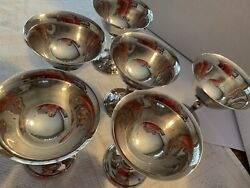 6 Piece Reed And Barton Jamestown Hollowware Champagne And Dessert