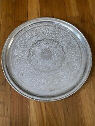 """Vintage Sterling Silver Round Floral Serving Tray 13"""" Inches Diameter 779.5g"""