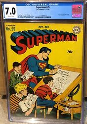 Superman 25 Cgc 7.0 - Ow Pages - 12/43 December 1943
