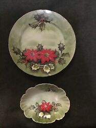 Lefton China Hand Painted Poinsetta Limited Edition Plate And Dish