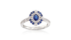 Blue Oval Double Halo Round Cut 925 Sterling Silver Her Engagement Wedding Ring
