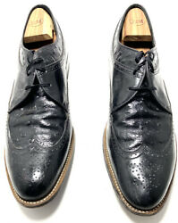 Stacy Adams Dayton Black Leather Lace Up Wingtip Oxford Shoes Size 12d