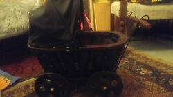 Stroller For Doll Primitive Country Wood Wicker Wheel Cradle Buggy Carriage