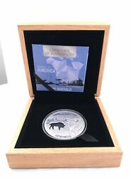 2020 Barbados Shapes Of America Cut-out High Relief 1oz Prooflike Silver Buffalo