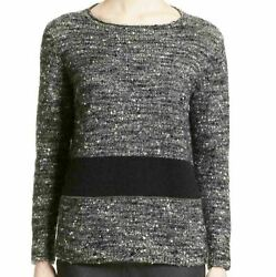 Nwt Fabiana Filippi Cashmere And Silk Blend Tweed Pullover In Gray -size Xl S2045