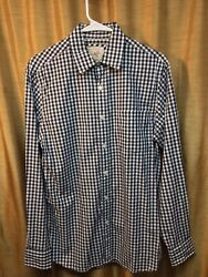 Article 365 Mens Navy/white Checkered Button Down Long Sleeve Shirt Size S