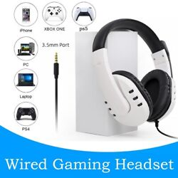 Ps5 Wired Overear Headset Mic 3.5mm Gaming Headset For Pc Xbox One Ps4 Ps3 Pc