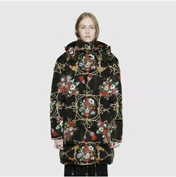 Padded Puffer Coat With Flowers And Tassels 42it Us 6 Nwt 4500