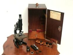 Vintage W. Watson And Sons Service Ii Microscope In Original Case C1953 [6731]