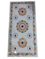 Semi Precious Stones Inlaid Marble Table Top White Dining Table 30 X 72 Inches