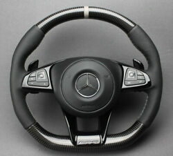 Mercedes-benz W213 Class Amg Style Steering Wheel Carbon Leather Grey Stripe