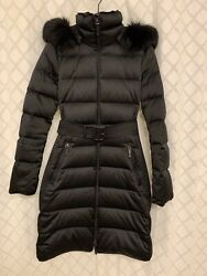 Women's Down Puffer Hooded Parka Shearling Trim Extra Small 1500 Obo