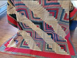 Antique C. 1860s Log Cabin Patchwork Quilt Sunshine And Shadow Barn Raising 73x73