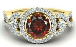 2.40 Ct Aaa Quality Red Garnet And Diamond Women Engagement Ring Solitaire Ring