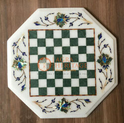12x12 White Marble Chess Top Table Pauashell Inlaid Floral Art New Year Gifts